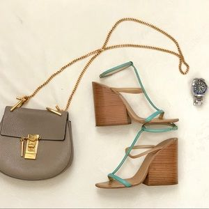 CHLOE Chunky Wooden Heel Wedge Strappy Sandal